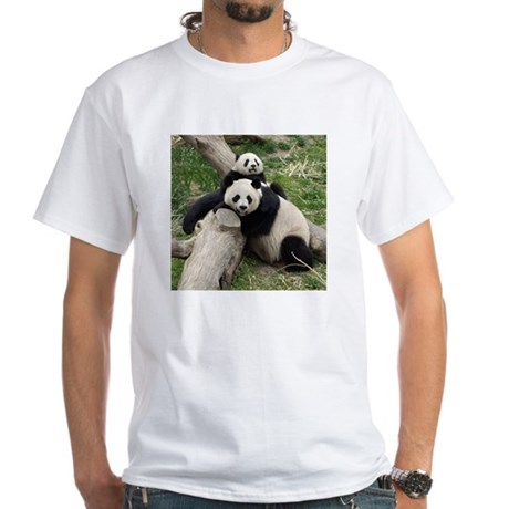 Mom & Baby Giant Pandas White T-Shirt