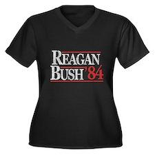 Reagan Bush '84 Women's Plus Size V-Neck Dark T-Sh