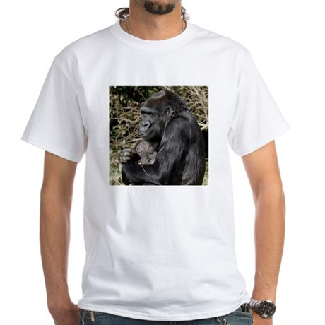 Mom and Baby Gorilla White T-Shirt
