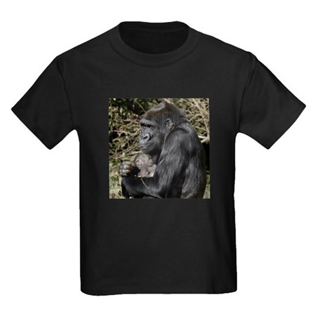 Mom and Baby Gorilla Kids Dark T-Shirt