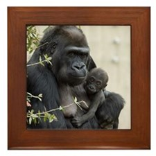 Mom and Baby Gorilla Framed Tile