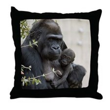 Mom and Baby Gorilla Throw Pillow