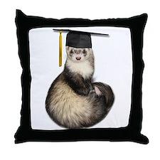 Ferret Graduation Throw Pillow
