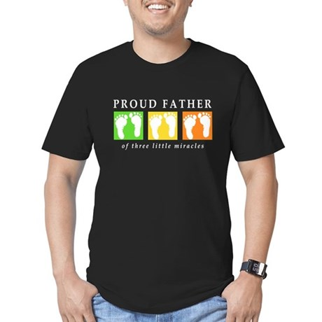 Proud Father of Three Men's Fitted T-Shirt (dark)