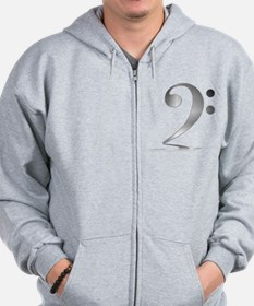 "Shadowy ""Silver"" Bass Clef Zipped Hoody"