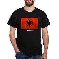 Albania Albanian Flag (Front) Black T-Shirt