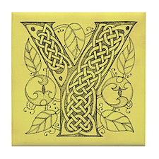 Celtic Letter Y Tile Coaster