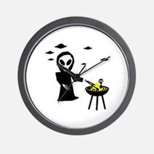 bbq alien area 51 Wall Clock