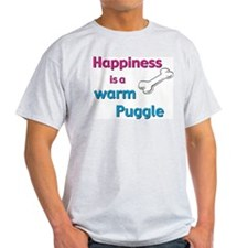 Happiness is a Warm Puggle Ash Grey T-Shirt