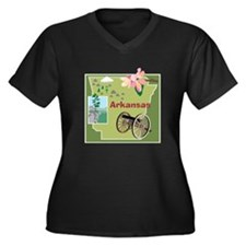 Arkansas Women's Plus Size V-Neck Dark T-Shirt