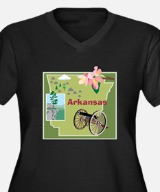 Arkansas Women's Plus Size V-Neck Dark T-Shirt