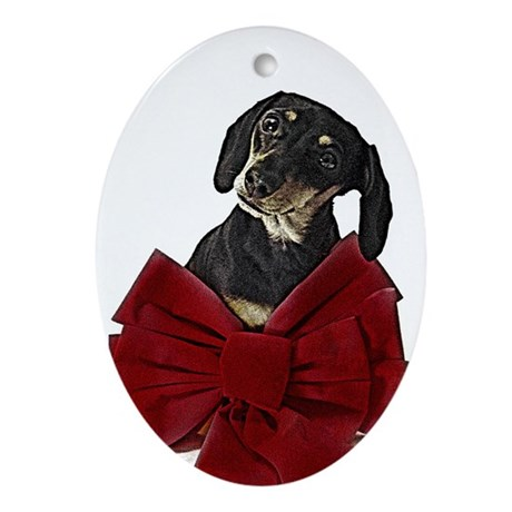 Miniature Dachshund Christmas Oval Ornament