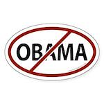 No Obama White Bumper Oval Sticker (50 pk)
