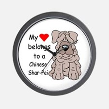 My Heart Shar Pei Wall Clock