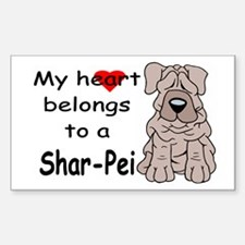 My Heart Shar Pei Rectangle Decal