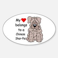 My Heart Shar Pei Oval Decal