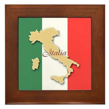 Italia (Italy Map) Framed Tile