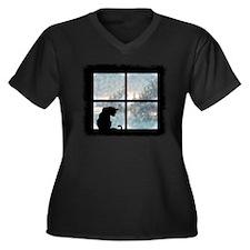 Cat in Window Women's Plus Size V-Neck Dark T-Shir