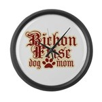 Bichon Frise Mom Large Wall Clock