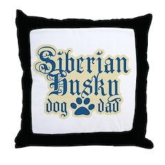 Siberian Husky Dad Throw Pillow
