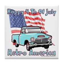 Retro America 4th Of July Tile Coaster