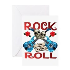 Rock N' Roll 4 Ever Blue Guit Greeting Card