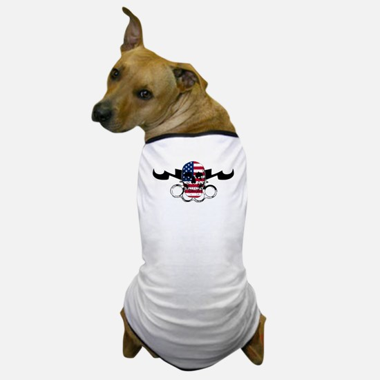 MMA USA Flag Skull & Brass Kn Dog T-Shirt