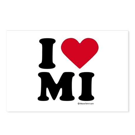 I Love Michigan ~ Postcards (Package of 8)