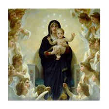 Cute Bouguereau the virgin with angels Tile Coaster