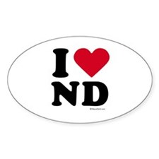 I Love North Dakota ~ Oval Decal