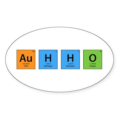 Au H2 O (Goldwater) Oval Sticker