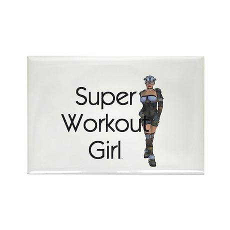 Super Workout Girl Rectangle Magnet (10 pack)