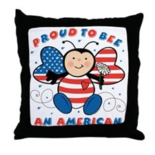 Proud To Bee American Throw Pillow