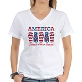 Family 4th of july Womens V-Neck T-shirts