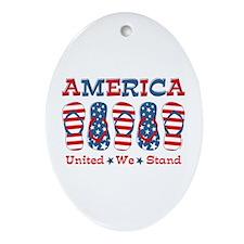 Flip Flop America Ornament (Oval)