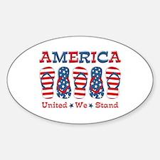Flip Flop America Sticker (Oval)