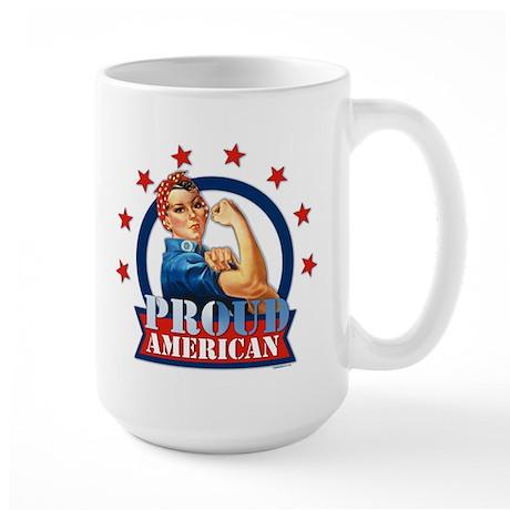 Rosie Riveter Proud American Large Mug
