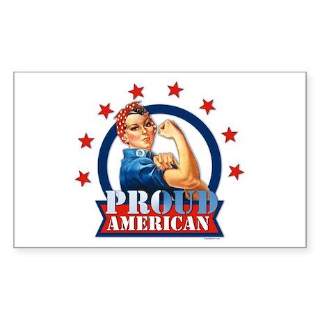 Rosie Riveter Proud American Rectangle Sticker
