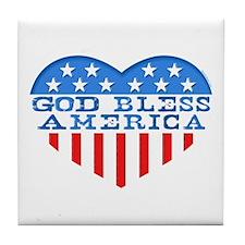 God Bless America Heart Tile Coaster