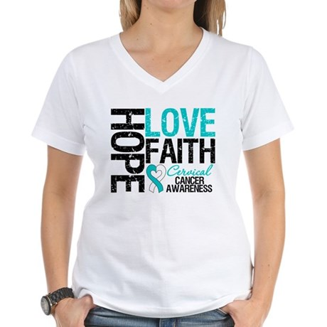 Cervical Cancer FAITH Women's V-Neck T-Shirt