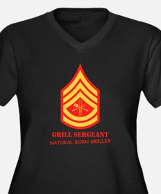 Grill Sgt. Women's Plus Size V-Neck Dark T-Shirt