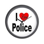 I Love Police Wall Clock