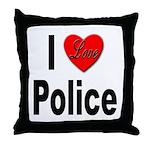 I Love Police Throw Pillow