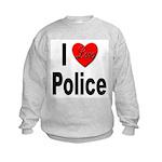 I Love Police (Front) Kids Sweatshirt