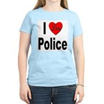 I Love Police (Front) Women's Pink T-Shirt
