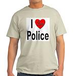 I Love Police (Front) Ash Grey T-Shirt