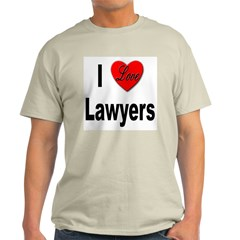 I Love Lawyers (Front) Ash Grey T-Shirt