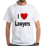 I Love Lawyers (Front) White T-Shirt