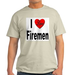 I Love Firemen (Front) Ash Grey T-Shirt