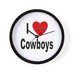 I Love Cowboys Wall Clock
